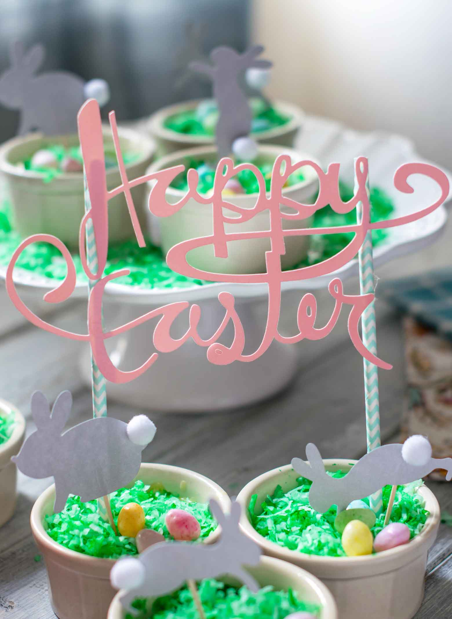 coconut cream dessert pots with Happy Easter Banner