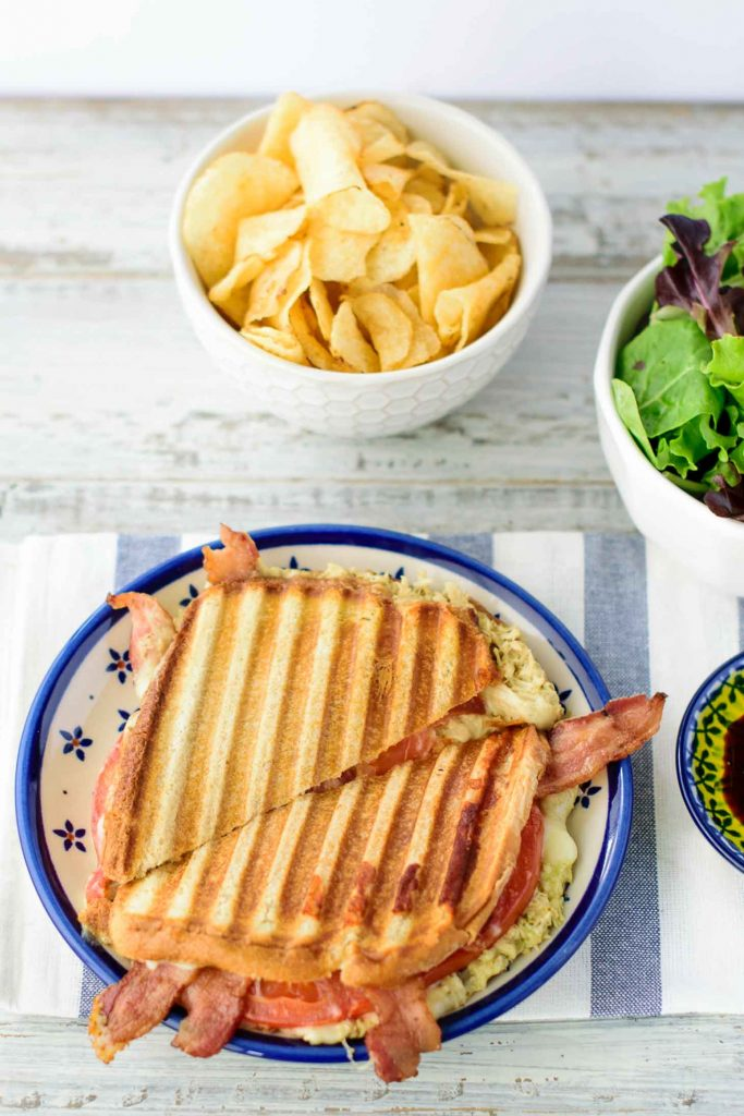 Ideas for panini recipes include pesto chicken panini using either coated cooked chicken breasts or pesto chicken salad style.