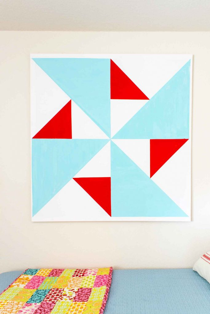 Inexpensive DIY art using a barn quilt as inspiration. Make your own canvas to save money!
