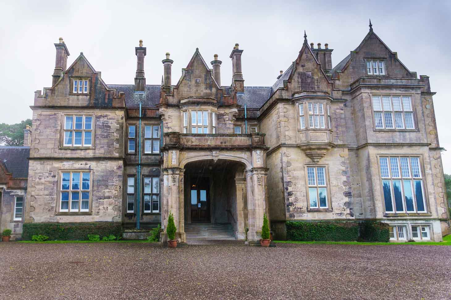 Muckross House in Killarney National Park during a rain storm.