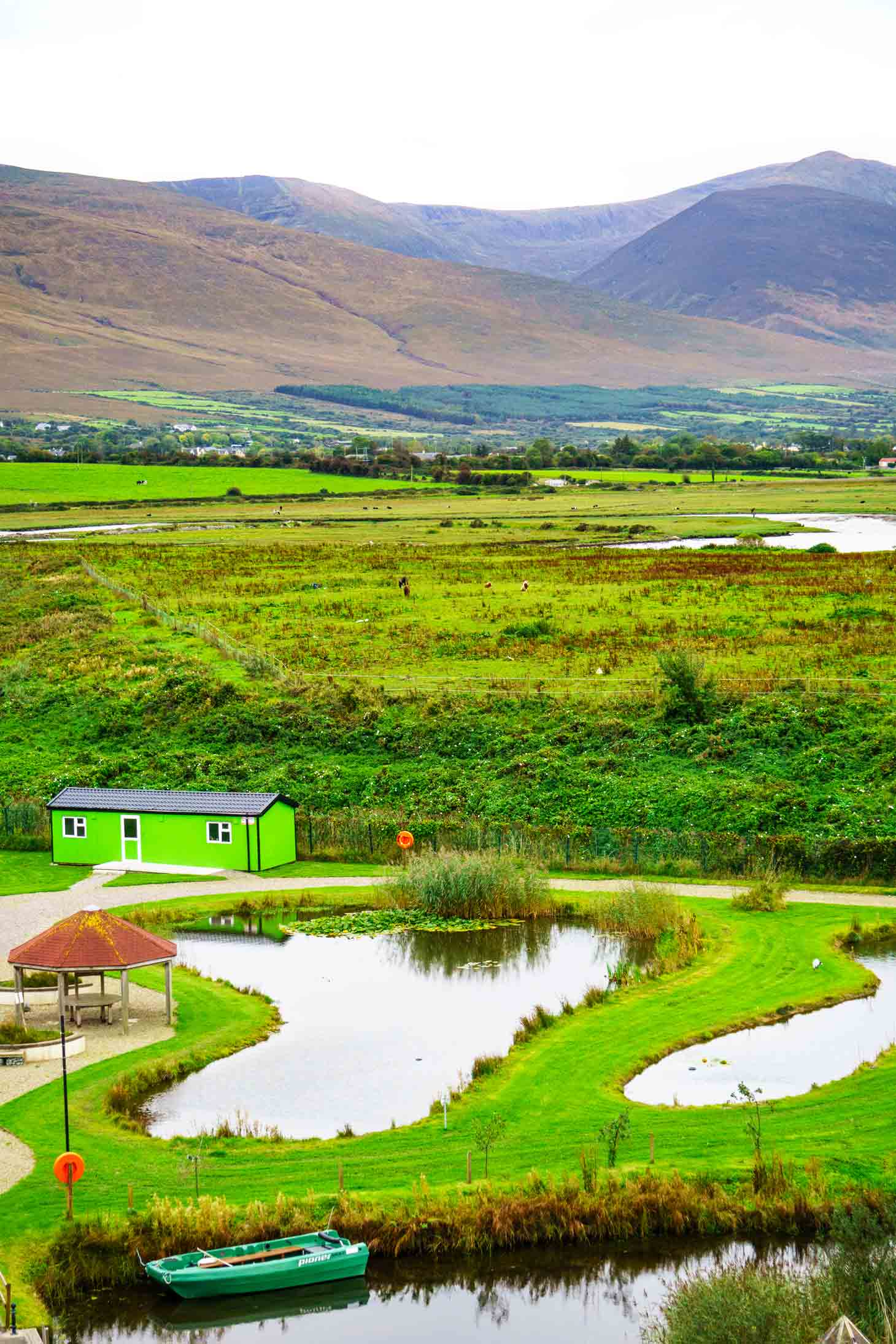 View of the Slieve Mish mountains from Tralee Bay Wetlands observation deck.