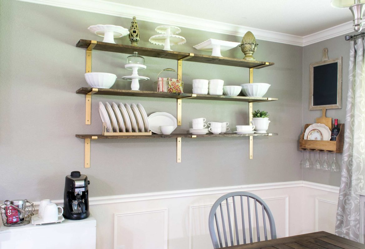 Dining Room Shelves for Dish Display