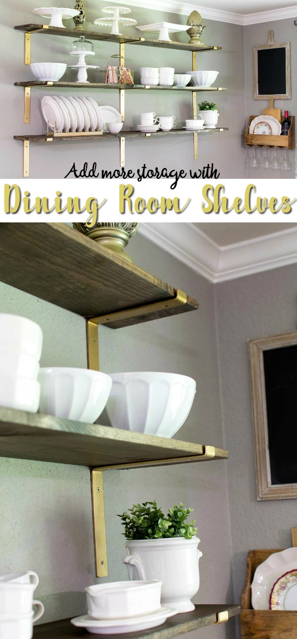 Dining room shelves add more room to display dishes! Take them out of the cabinets and put them front and center on these gorgeous rustic wooden shelves with stylish gold brackets.