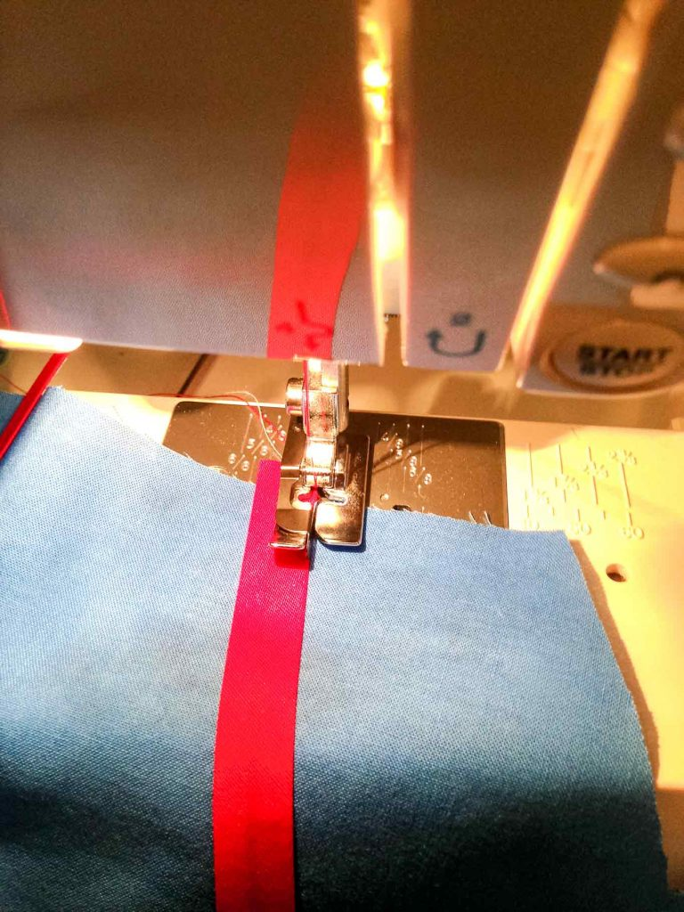 Using an edging foot for precision sewing