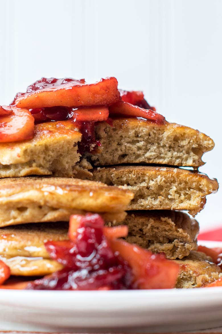 Use leftover cranberry sauce to top homemade ginger pancakes for a Christmas morning breakfast