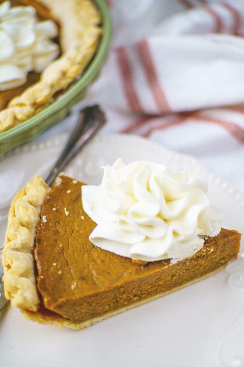 This molasses pumpkin pie recipe is full of spices like nutmeg, cloves, ginger and cinnamon.