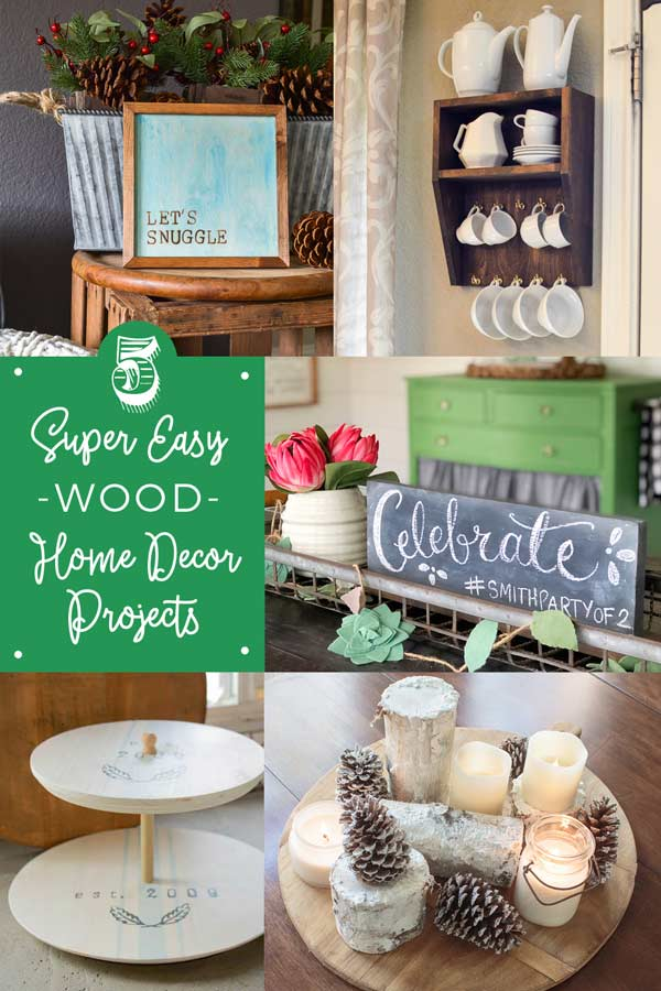 5 super easy wood home decor projects! From signs, to mug storage, to a lazy susan to snowy birch candle display!