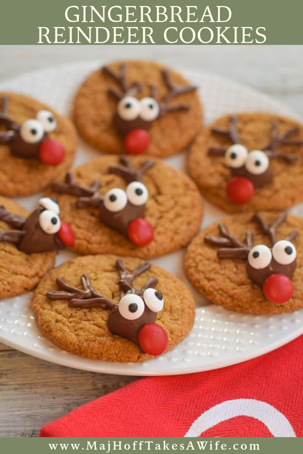 These gingerbread reindeer cookies are ADORABLE and so easy to make! They require no cookie cutter or template! This classic gingerbread cookie dough whips up quickly! Kids love to make the fun candy reindeer faces! Perfect for holiday desserts or as gifts for teachers, friends, neighbors or other families! See the step by step for all the details! #ad #BakingMadeEasier #Cbias