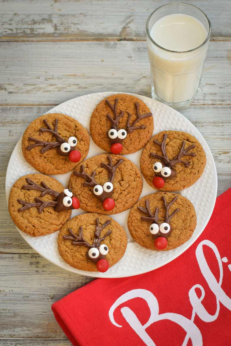 a plate of reindeer cookies made from gingerbread dough