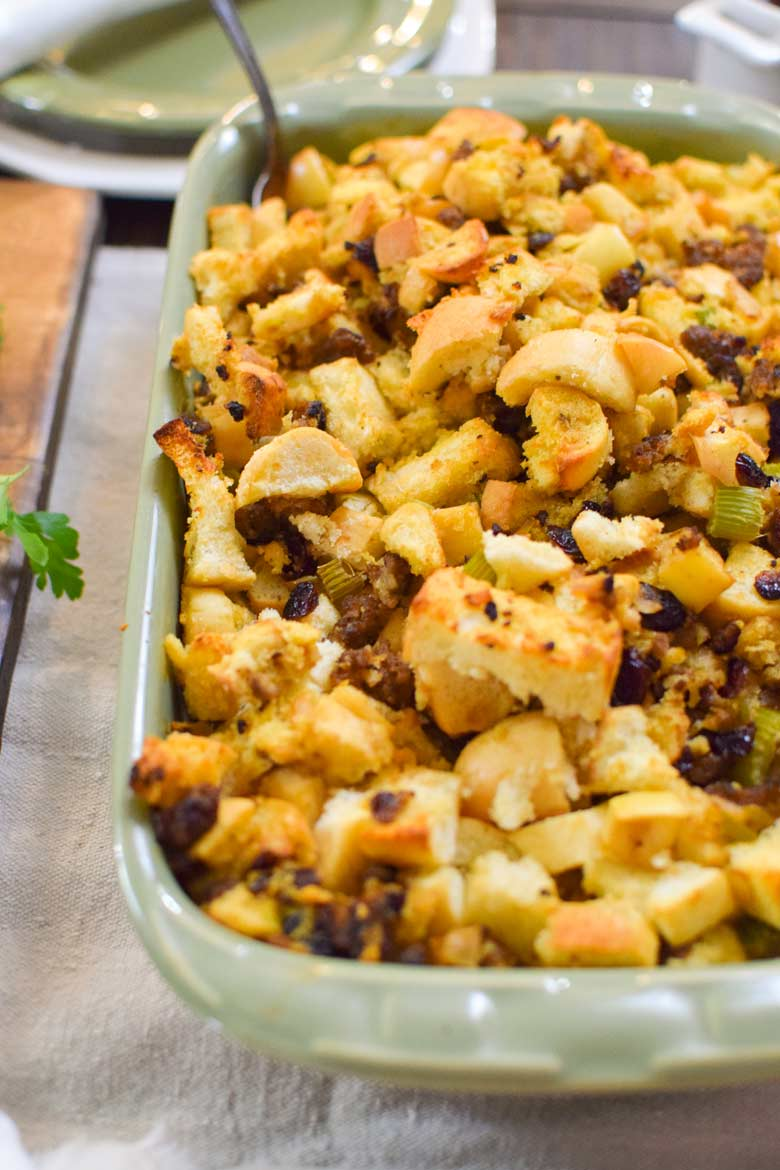 herb stuffing served alongside turkey or chicken for a Thanksgiving or winter meal.