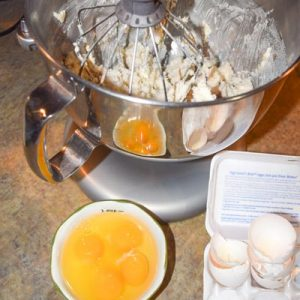 Four eggs in the dough for eggnog cookies give the eggnog flavor the recipe calls for