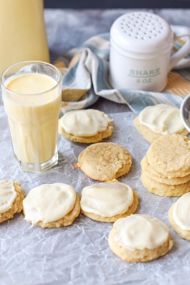 Eggnog cookies include a recipe for a buttercream frosting that can either be piped or frosted on