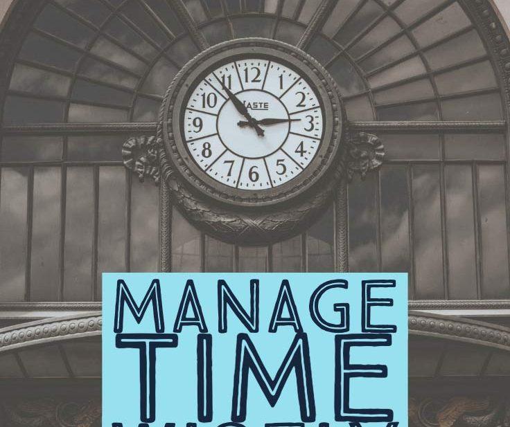 clock ticking with words that say manage time wisely in the new year
